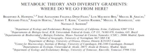 Hawkins et al. (2007 Ecology) Metabolic theory and diversity gradients: Where do we go from here?