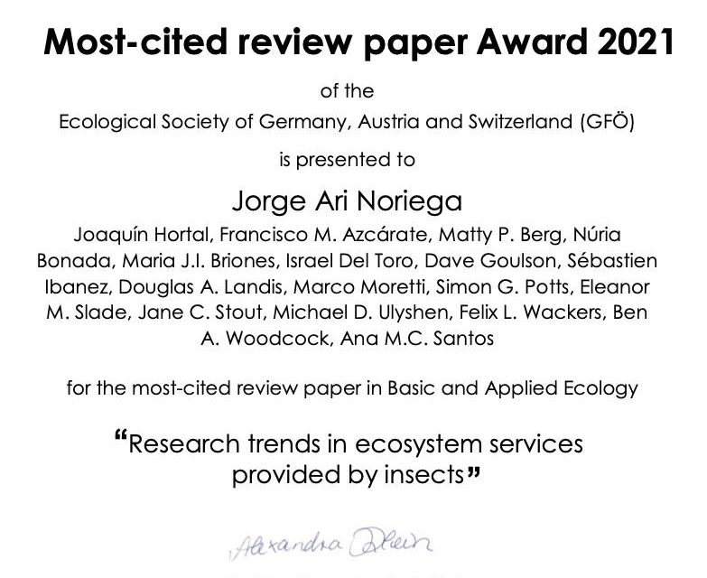 A review paper receives an award from GfÖ